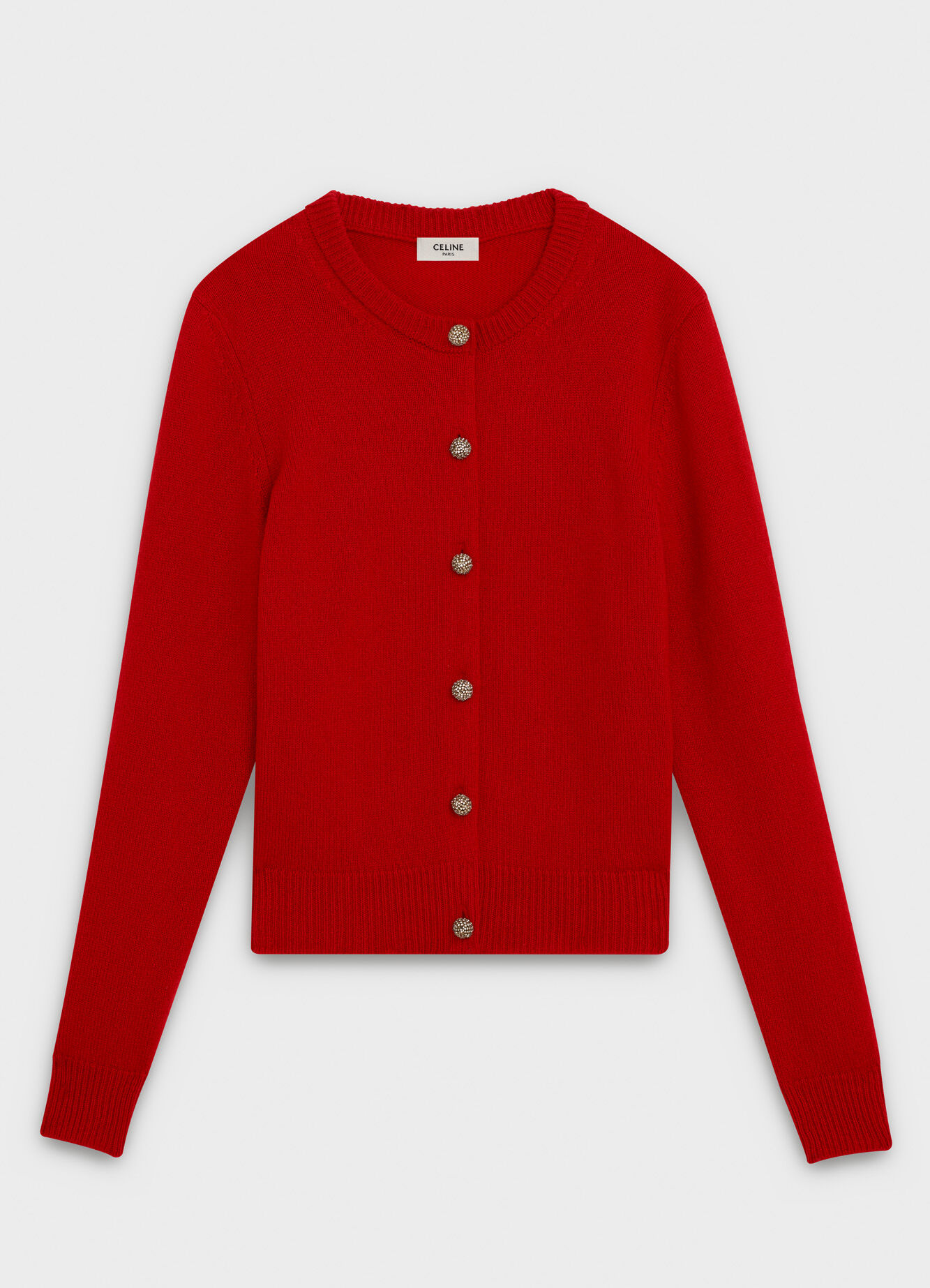 CELINE CREW NECK CARDIGAN IN CASHMERE