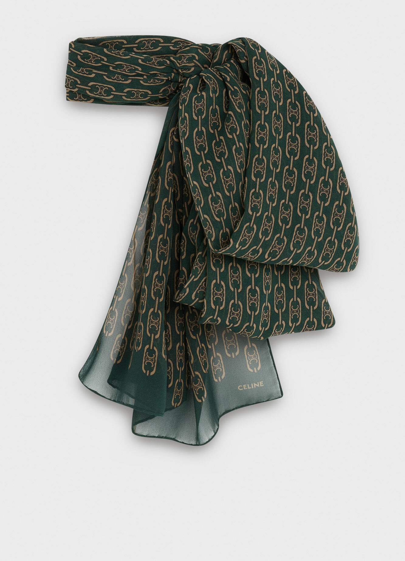 CELINE SCARF IN SILK GEORGETTE WITH 'TRIOMPHE' CHAIN PRINT