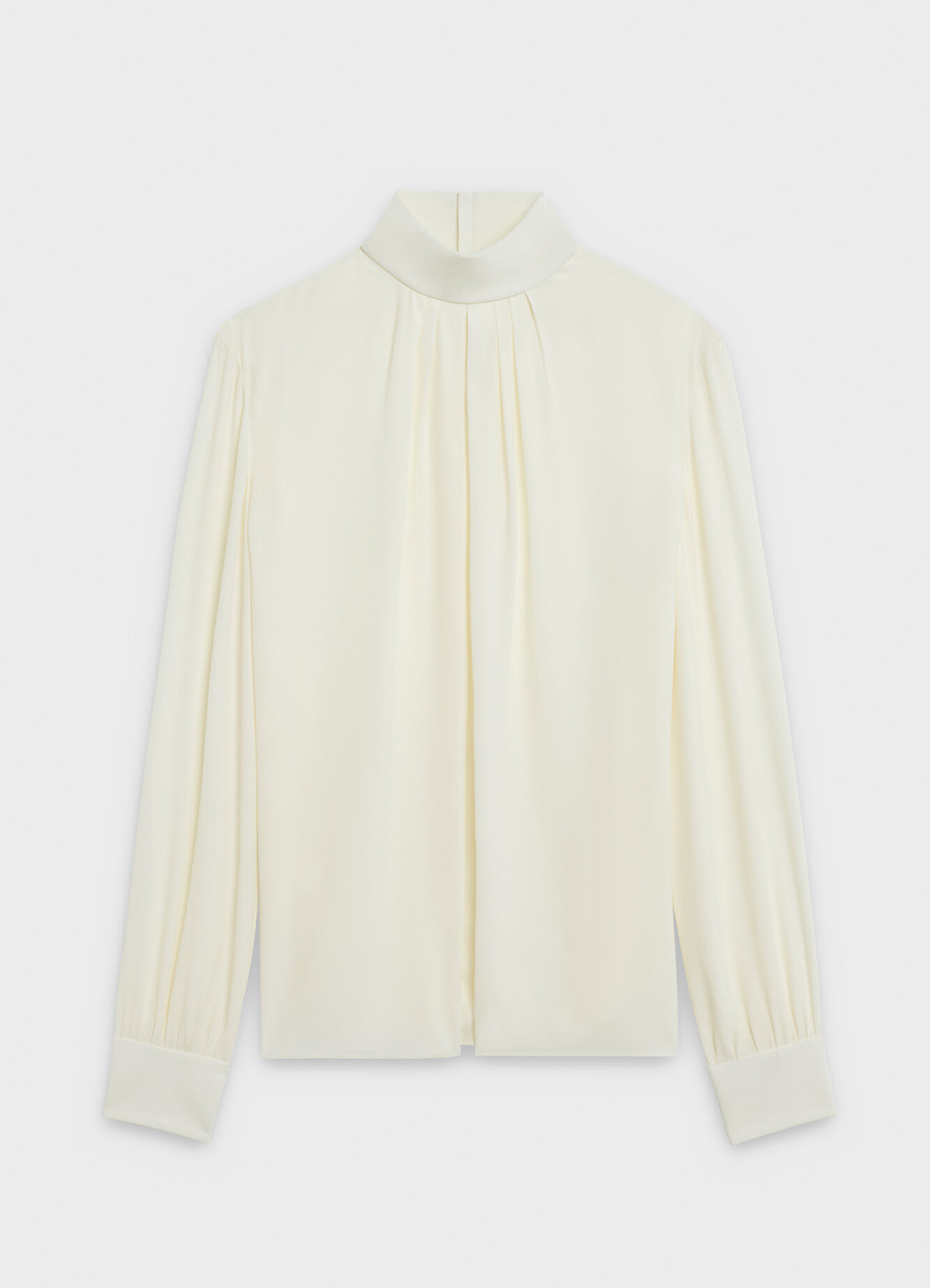 CELINE HIGH-COLLAR GATHERED BLOUSE IN SILK CREPE AND ACETATE