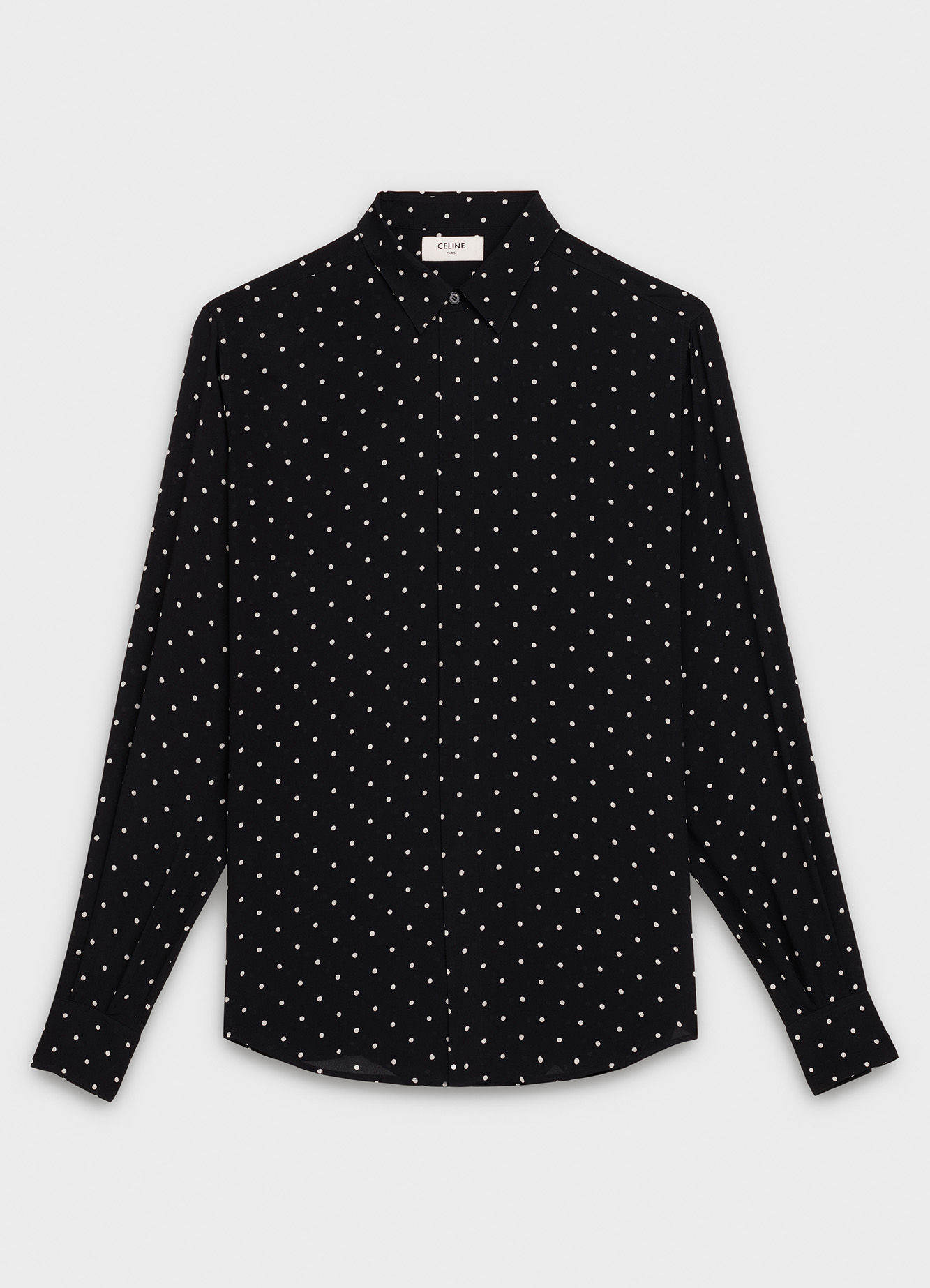 CELINE CLASSIC SHIRT IN DOT PRINTED GEORGETTE WITH MODERN COLLAR