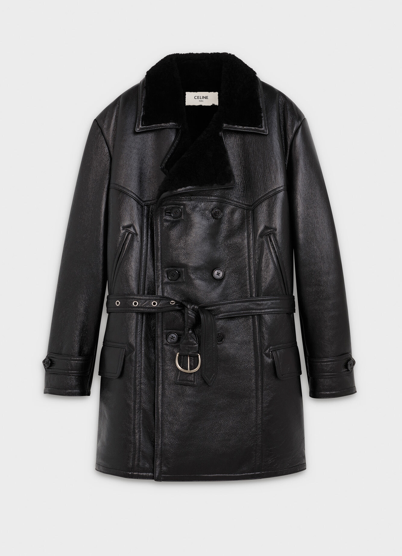 DOUBLE-BREASTED COAT IN NAPPA SHEARLING
