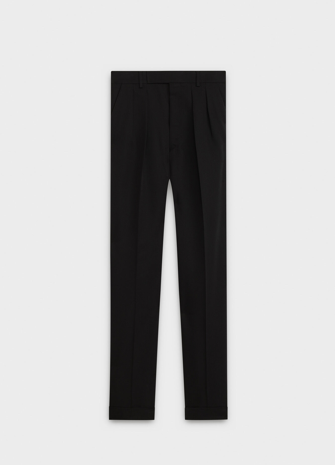 DOUBLE-PLEATED PANTS WITH TURN-UPS IN MOHAIR WOOL