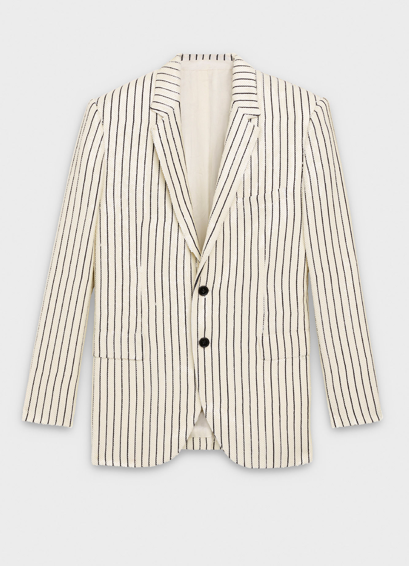 CELINE SEQUINS EMBROIDERED RECTANGLE JACKET IN TENNIS STRIPED WOOL