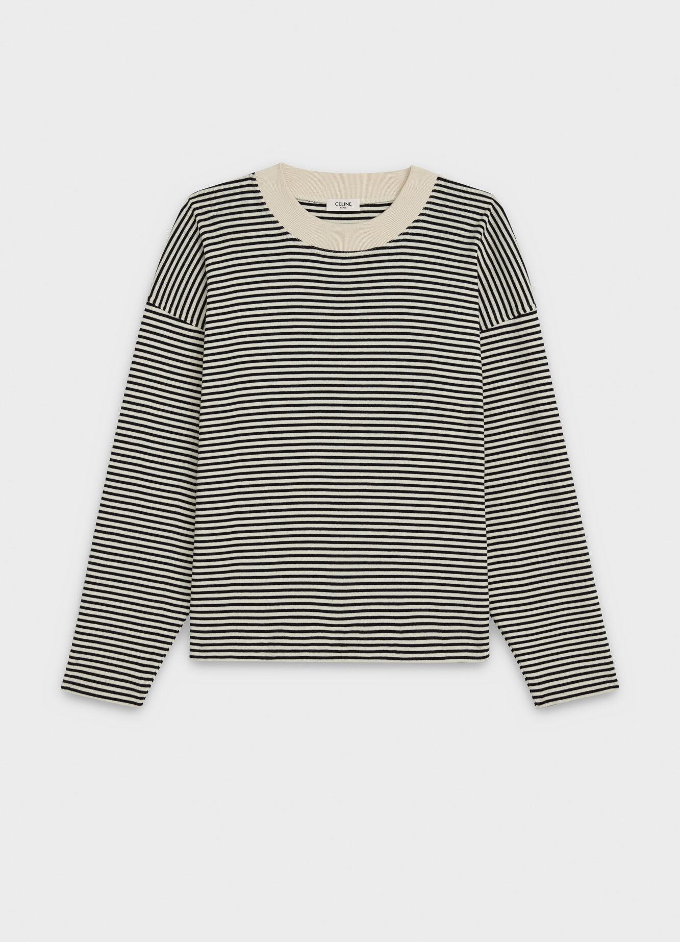 CELINE OVERSIZE T-SHIRT WITH LONG SLEEVES IN STRIPED COTTON