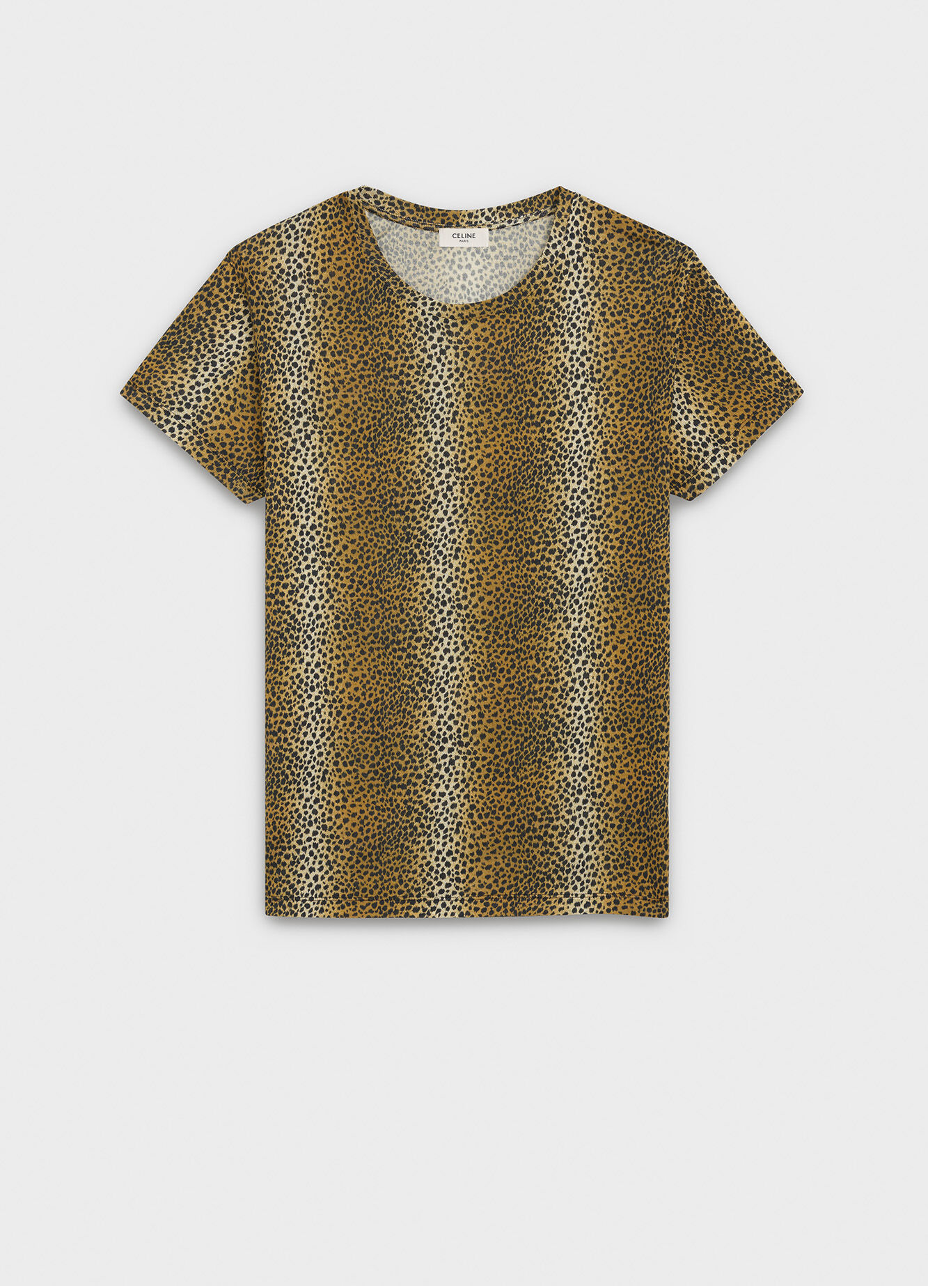 CELINE CLASSIC CREW NECK T-SHIRT IN LEOPARD PRINTED SILK JERSEY