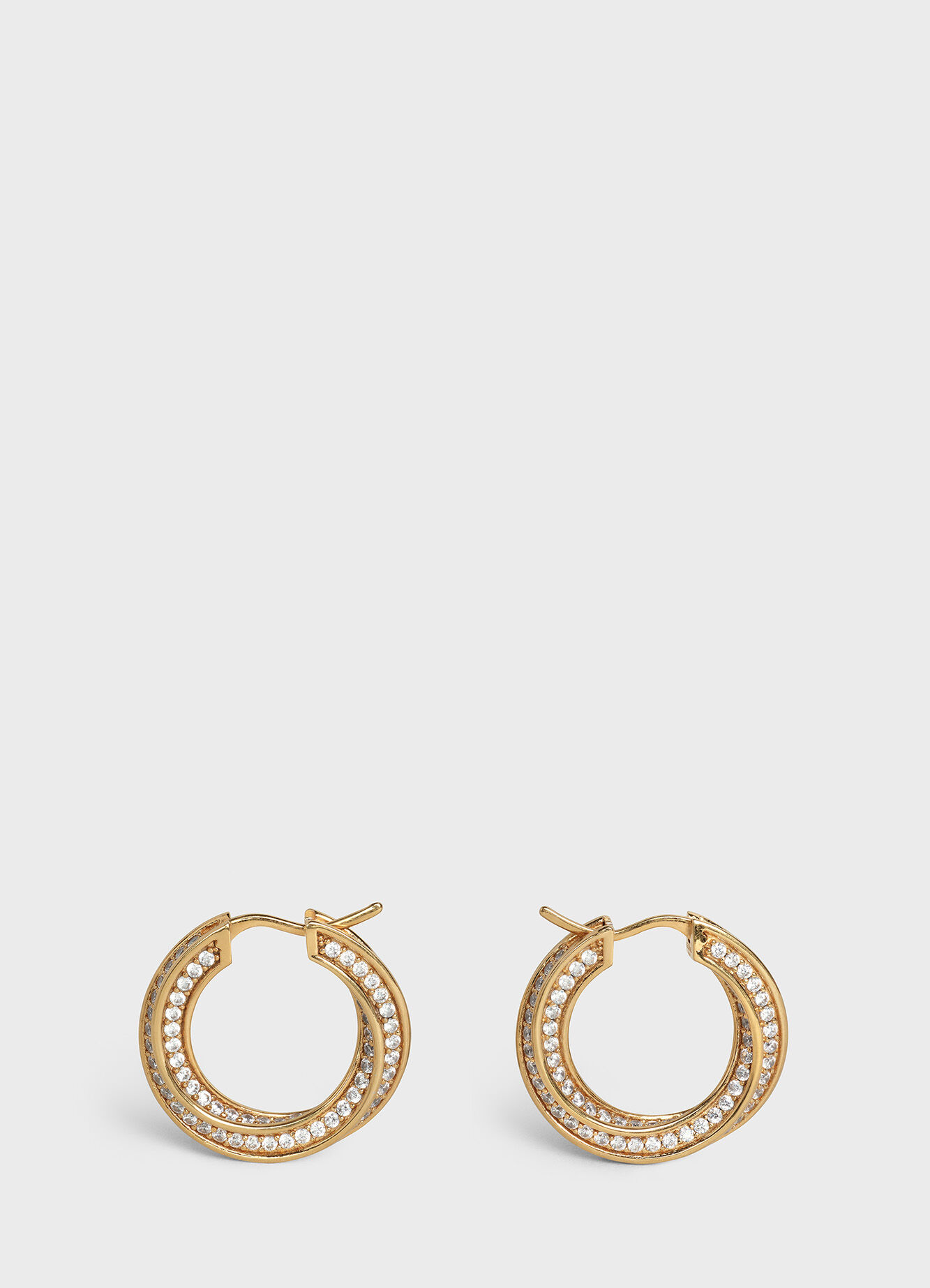 CELINE EDWIGE TWISTED HOOPS IN BRASS WITH GOLD FINISH AND CRYSTALS