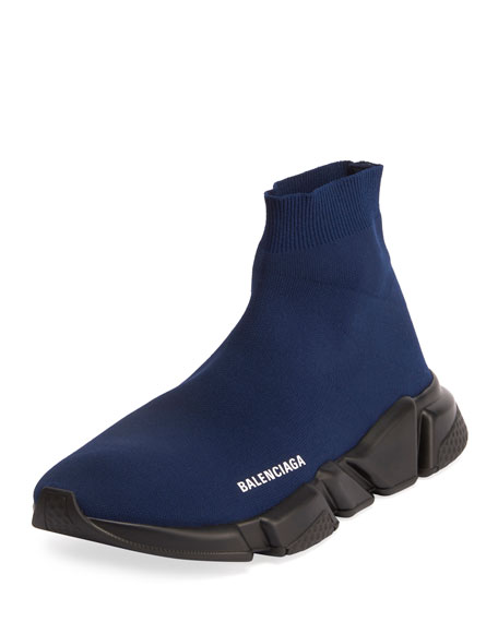Balenciaga Men's High-Top Knit Sock Sneakers