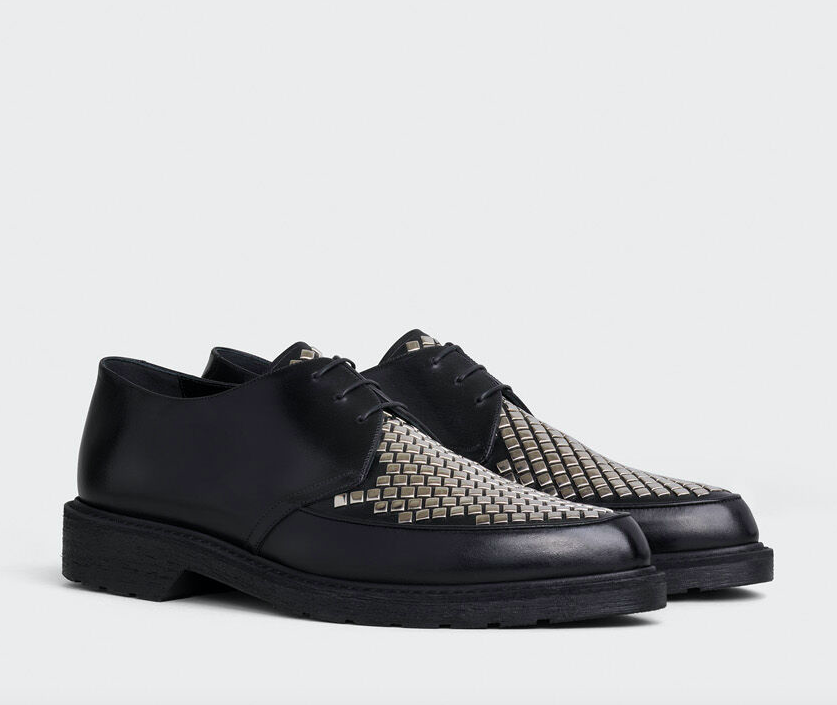 CELINE CREEPERS DERBY WITH STUDDED APRON IN SHINY CALFSKIN