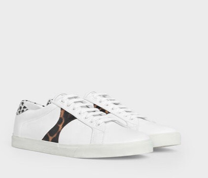 CELINE TRIOMPHE LOW LACE UP SNEAKER IN CALFSKIN & PRINTED CALFSKIN